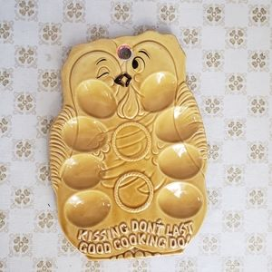Vintage Deviled Egg Plate Yellow 70s 60s Kitchen